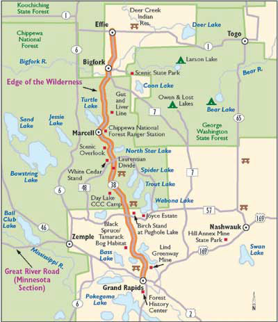 map of Edge of the Wilderness Scenic Byway north of Grand Rapids